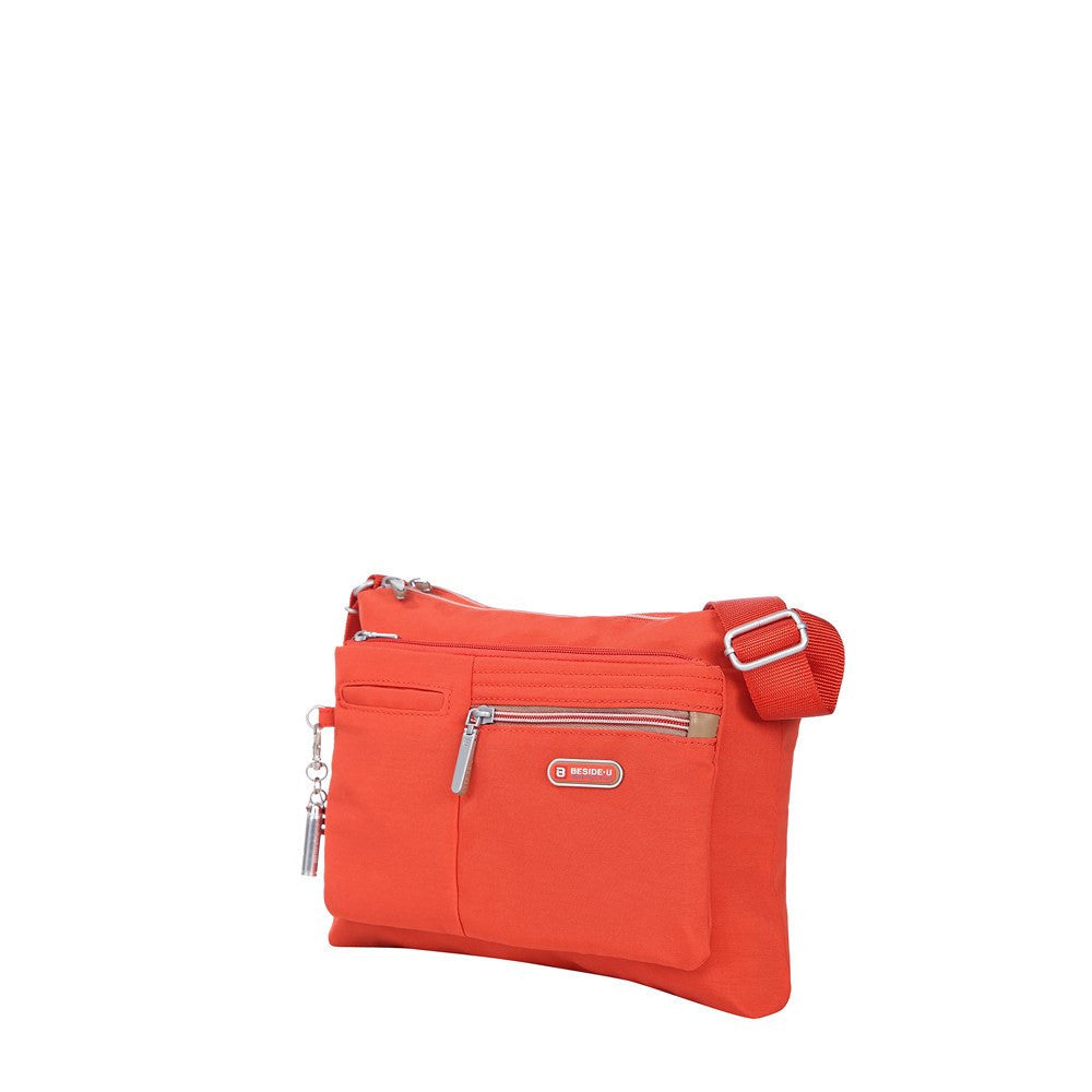 Crossbody Bag - Genoa Two-Tone Casual Crossbody Bag Angled [Sweet Orange]