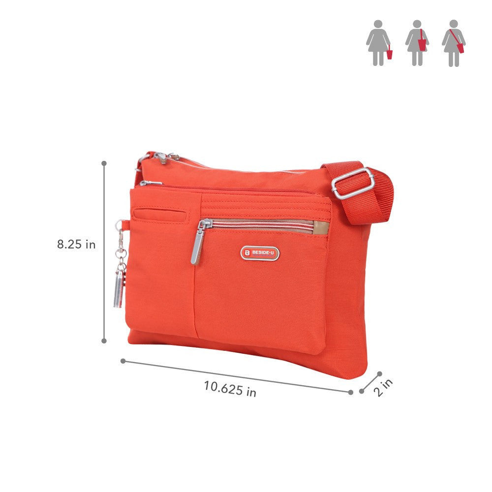 Crossbody Bag - Genoa Two-Tone Casual Crossbody Bag Size [Sweet Orange]