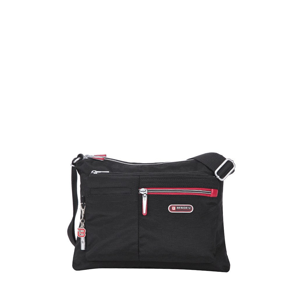 Crossbody Bag - Genoa Two-Tone Casual Crossbody Bag Front [Black And Dark Red]