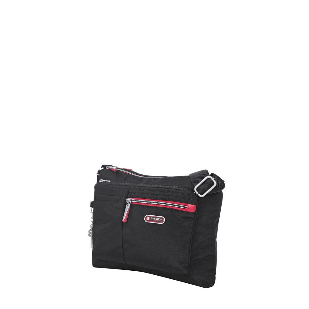 Crossbody Bag - Genoa Two-Tone Casual Crossbody Bag Angled [Black And Dark Red]
