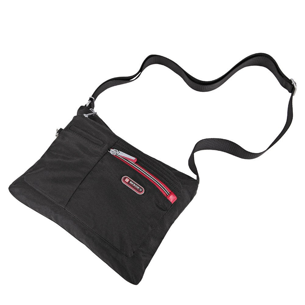 Crossbody Bag - Genoa Two-Tone Casual Crossbody Bag Lying Down [Black And Dark Red]