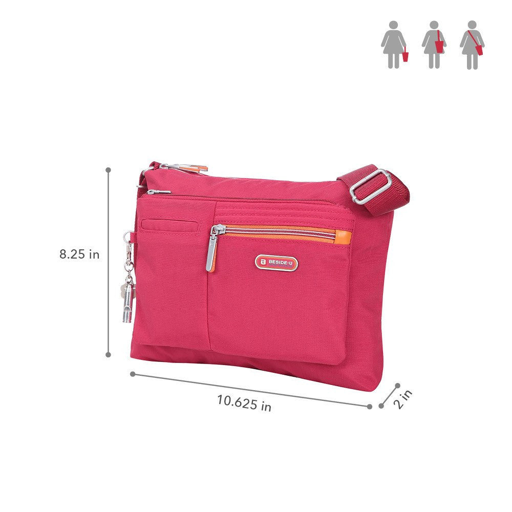Crossbody Bag - Genoa Two-Tone Casual Crossbody Bag Size [Heart Red]