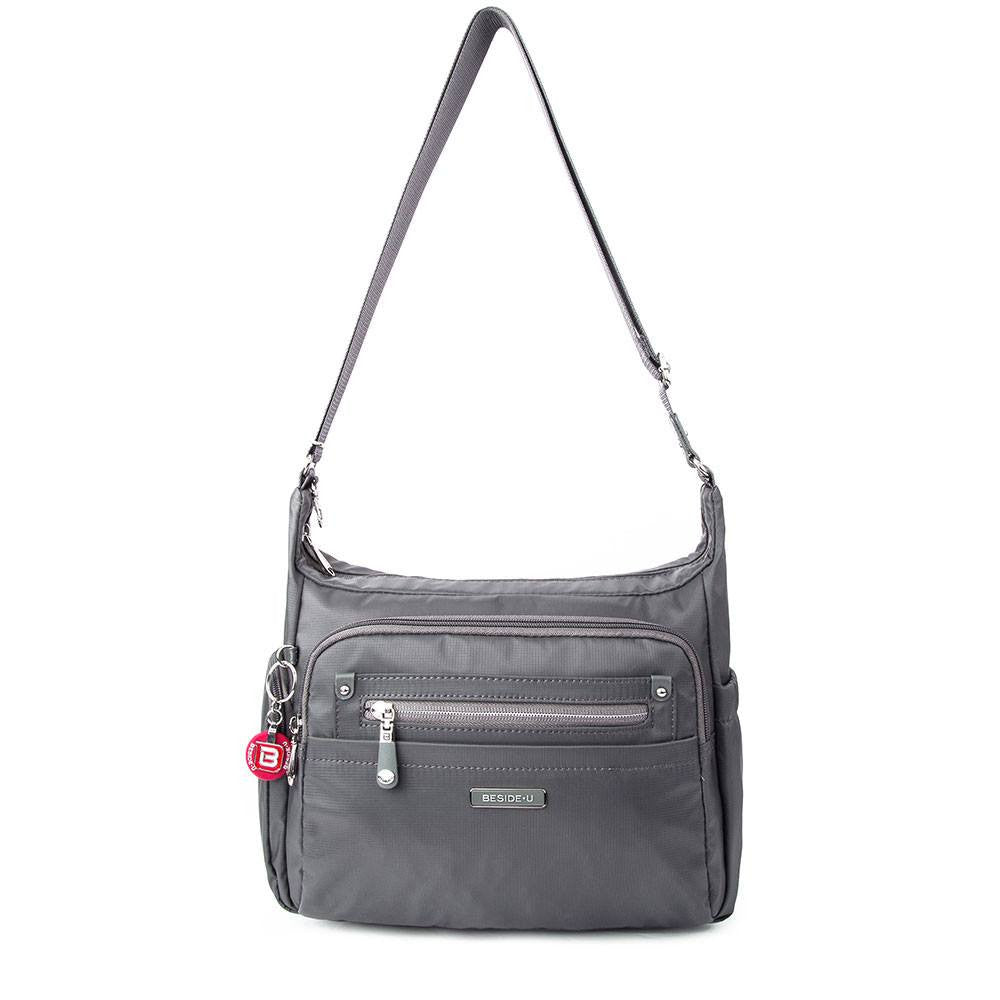 Crossbody Bag - Grenada Leather Trimmed Multi-Pocket Crossbody Bag With Round Dangle Front [Kitten Grey]