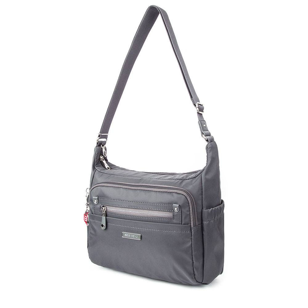 Crossbody Bag - Grenada Leather Trimmed Multi-Pocket Crossbody Bag With Round Dangle Angled [Kitten Grey]