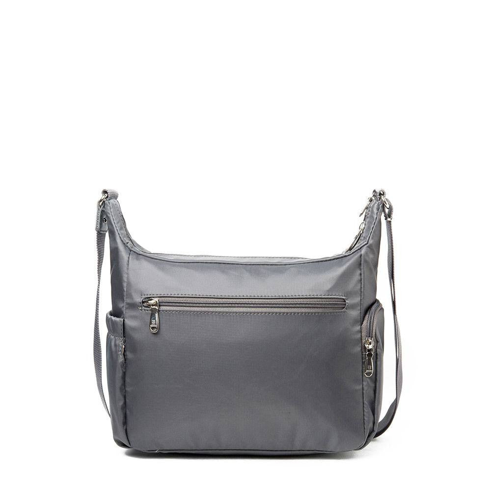 Crossbody Bag - Grenada Leather Trimmed Multi-Pocket Crossbody Bag With Round Dangle Back [Kitten Grey]