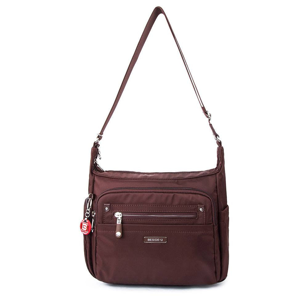 Crossbody Bag - Grenada Leather Trimmed Multi-Pocket Crossbody Bag With Round Dangle Front [Bitter Brown]