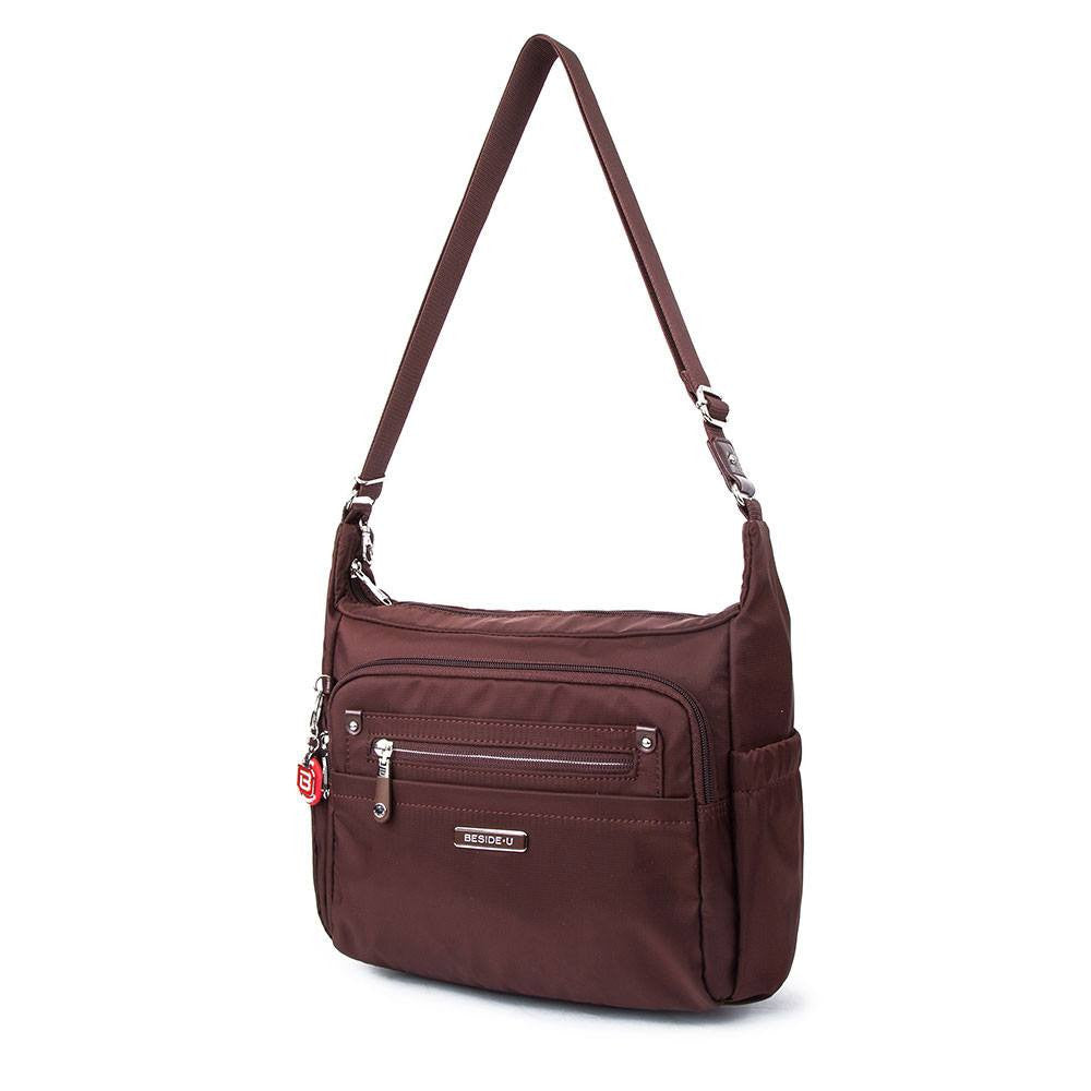 Crossbody Bag - Grenada Leather Trimmed Multi-Pocket Crossbody Bag With Round Dangle Angled [Bitter Brown]