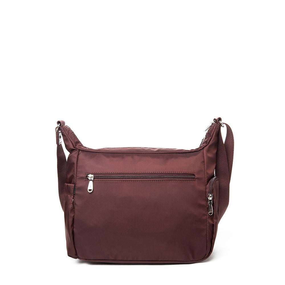 Crossbody Bag - Grenada Leather Trimmed Multi-Pocket Crossbody Bag With Round Dangle  Back [Bitter Brown]