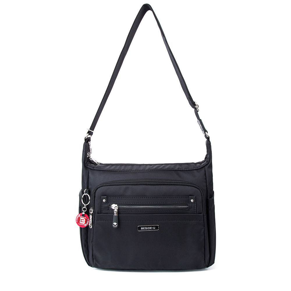 Crossbody Bag - Grenada Leather Trimmed Multi-Pocket Crossbody Bag With Round Dangle Front [Black]
