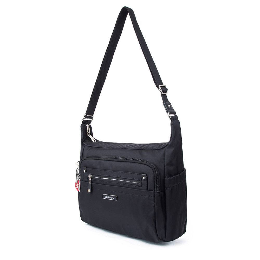 Crossbody Bag - Grenada Leather Trimmed Multi-Pocket Crossbody Bag With Round Dangle Angled [Black]