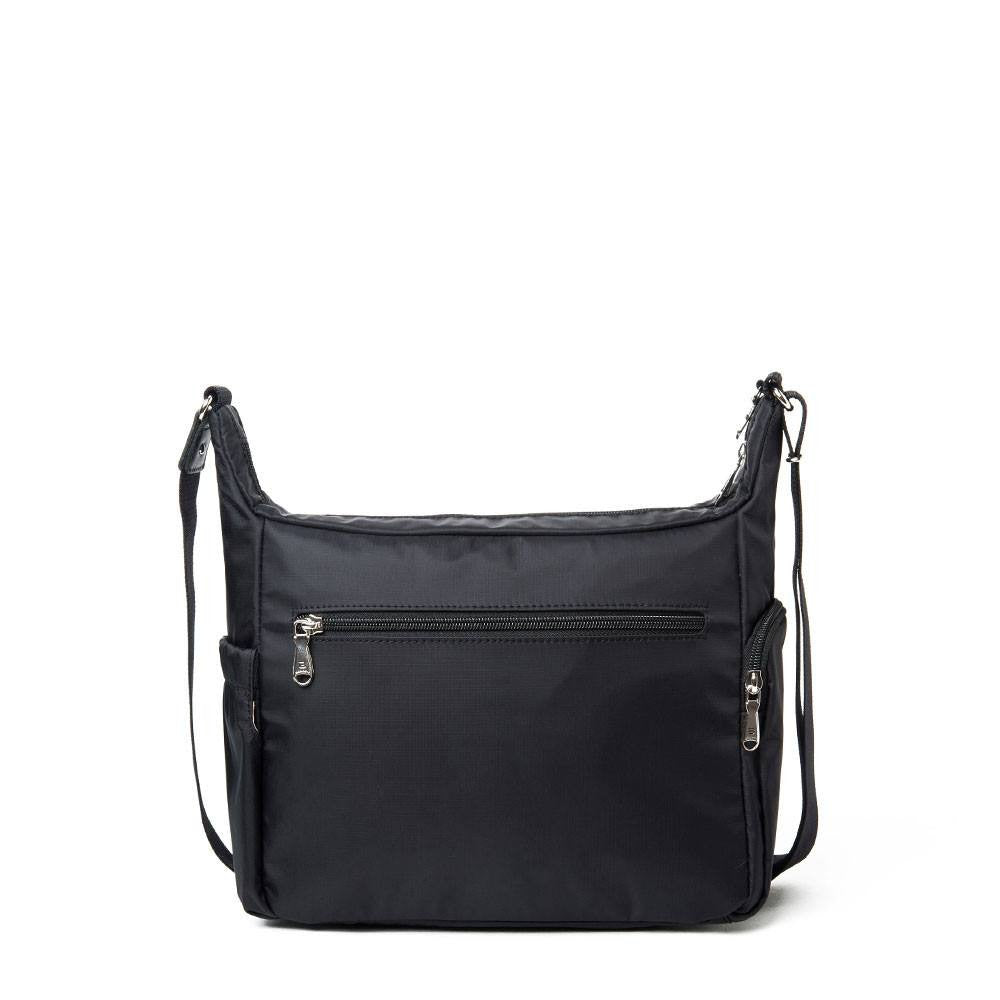 Crossbody Bag - Grenada Leather Trimmed Multi-Pocket Crossbody Bag With Round Dangle Back [Black]