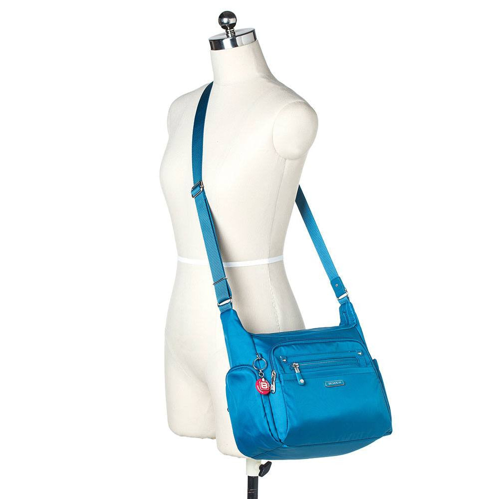Crossbody Bag - Grenada Leather Trimmed Multi-Pocket Crossbody Bag With Round Dangle Mannequin