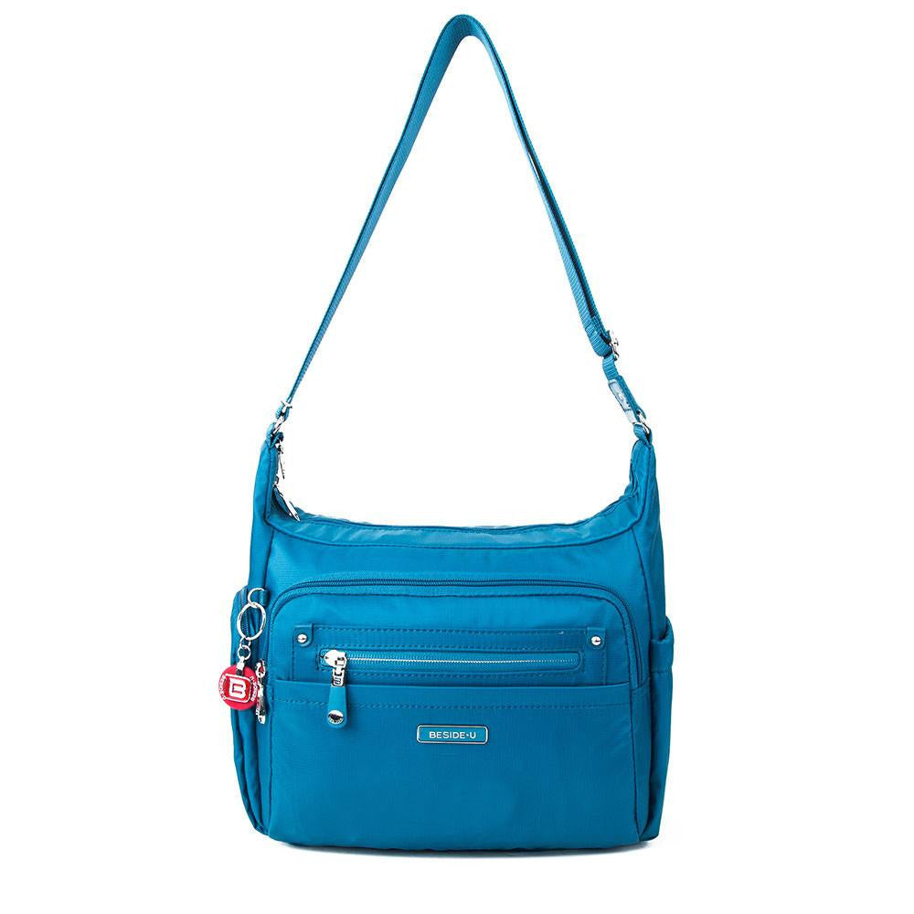 Crossbody Bag - Grenada Leather Trimmed Multi-Pocket Crossbody Bag With Round Dangle Front [Sapphire Blue]