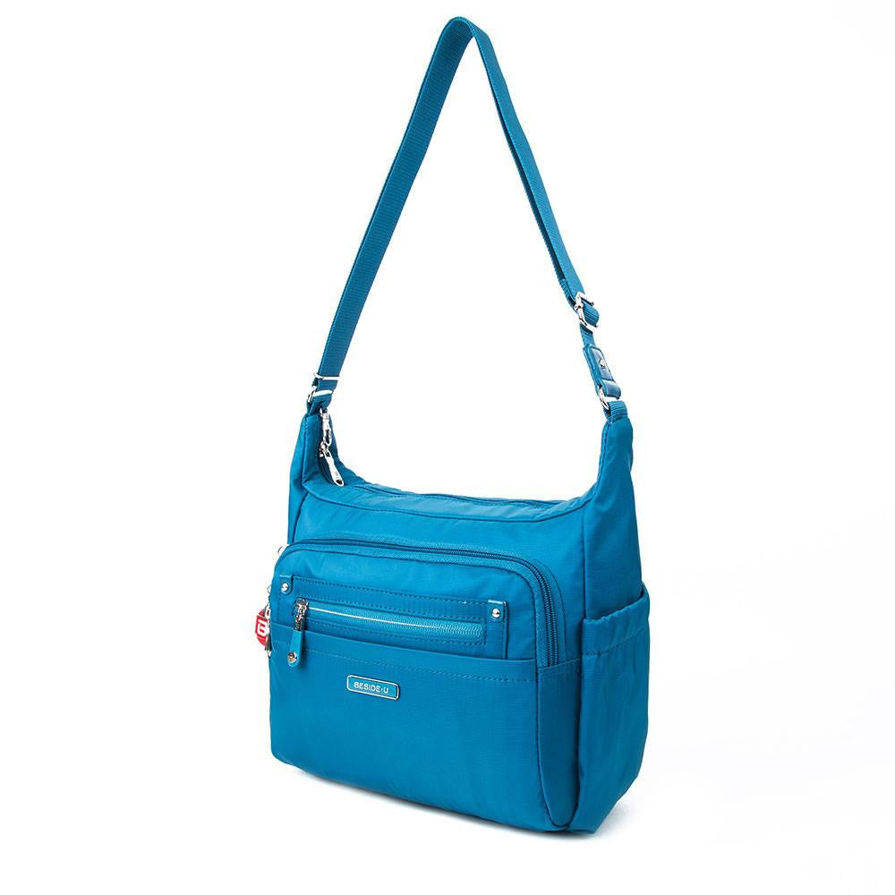Crossbody Bag - Grenada Leather Trimmed Multi-Pocket Crossbody Bag With Round Dangle Angled [Sapphire Blue]