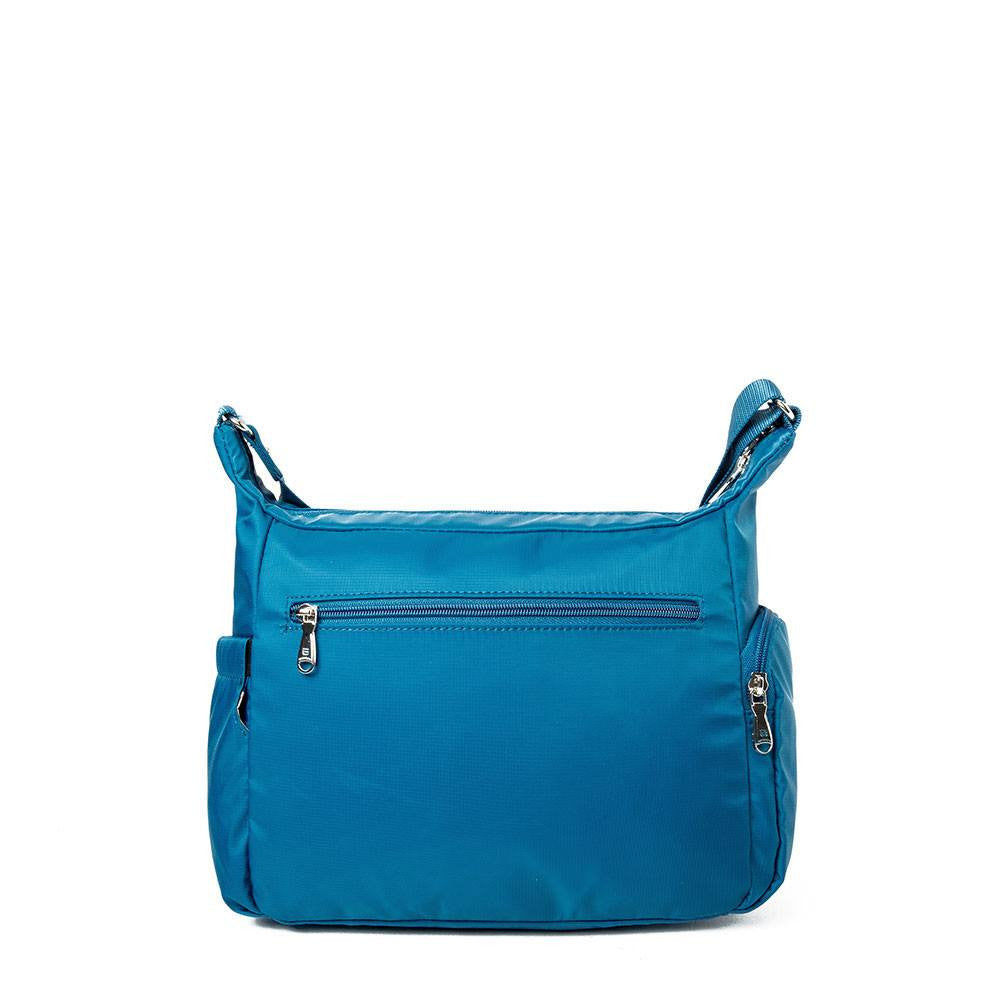 Crossbody Bag - Grenada Leather Trimmed Multi-Pocket Crossbody Bag With Round Dangle Back [Sapphire Blue]