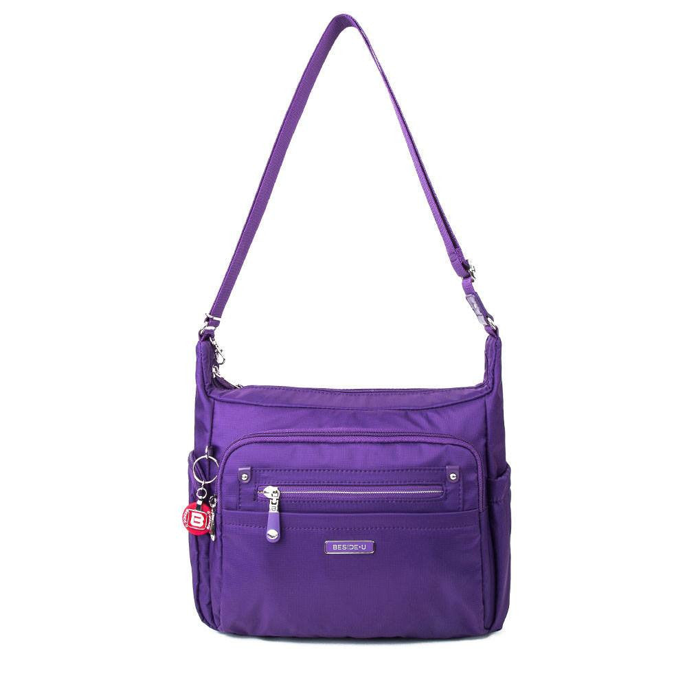 Crossbody Bag - Grenada Leather Trimmed Multi-Pocket Crossbody Bag With Round Dangle Front [Majesty Purple]