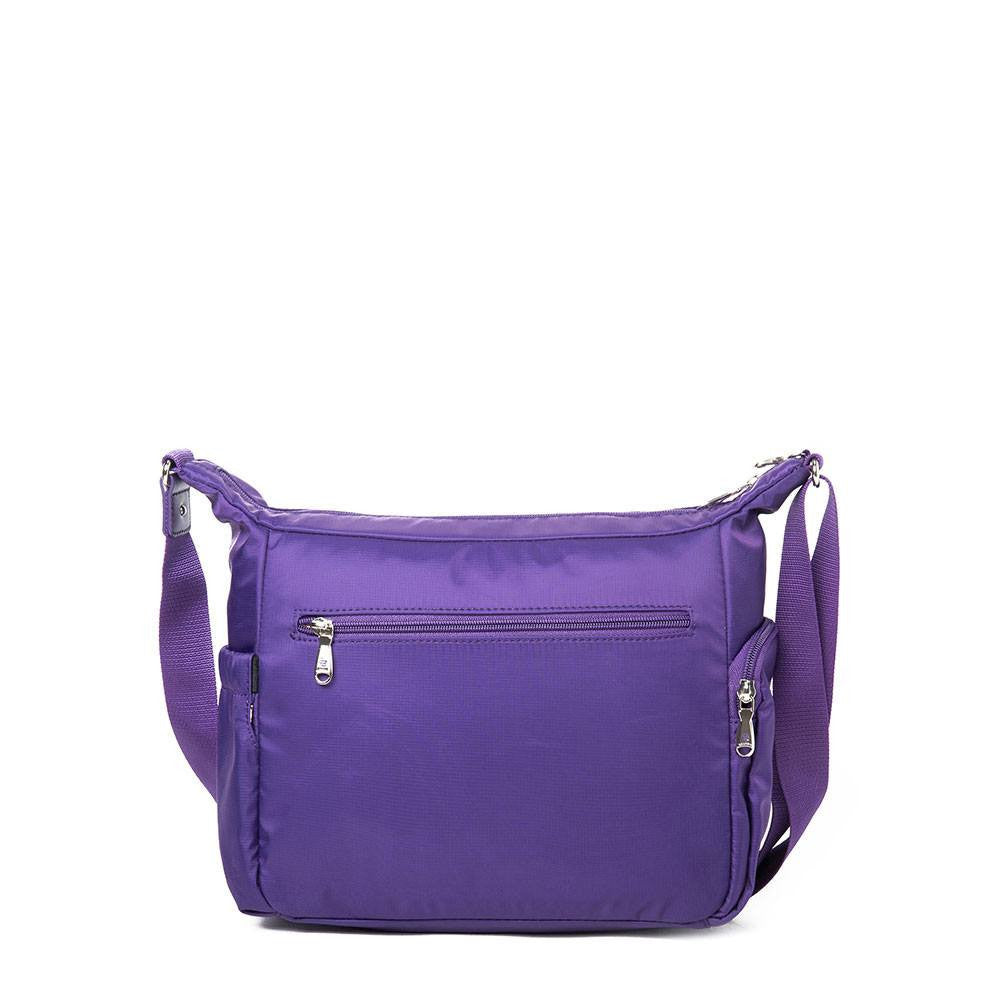 Crossbody Bag - Grenada Leather Trimmed Multi-Pocket Crossbody Bag With Round Dangle Back [Majesty Purple]
