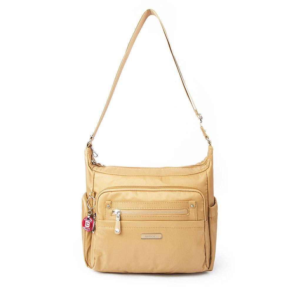 Crossbody Bag - Grenada Leather Trimmed Multi-Pocket Crossbody Bag With Round Dangle Front [Tan Yellow]