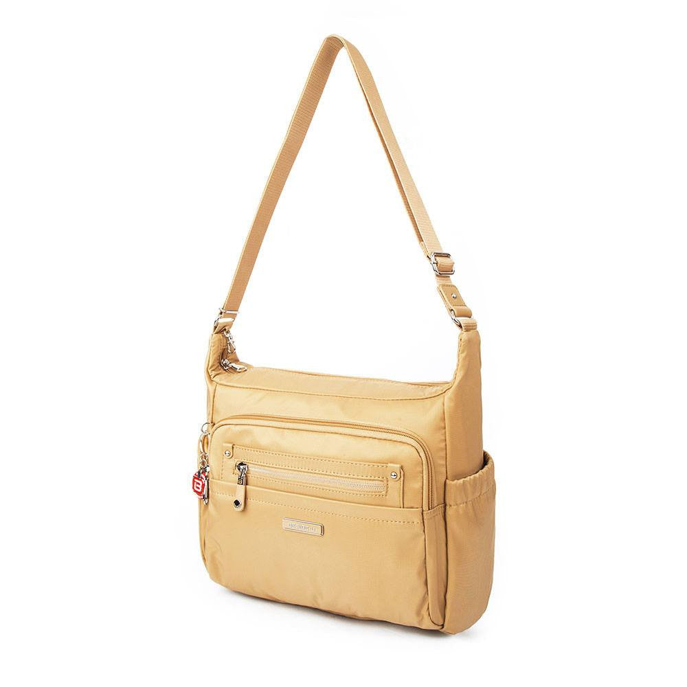 Crossbody Bag - Grenada Leather Trimmed Multi-Pocket Crossbody Bag With Round Dangle Angled [Tan Yellow]