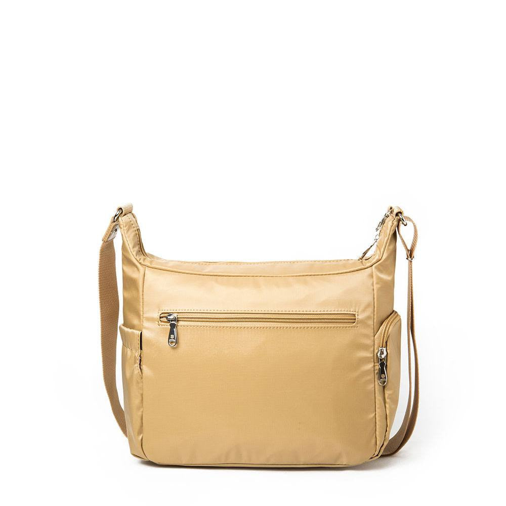 Crossbody Bag - Grenada Leather Trimmed Multi-Pocket Crossbody Bag With Round Dangle Back [Tan Yellow]