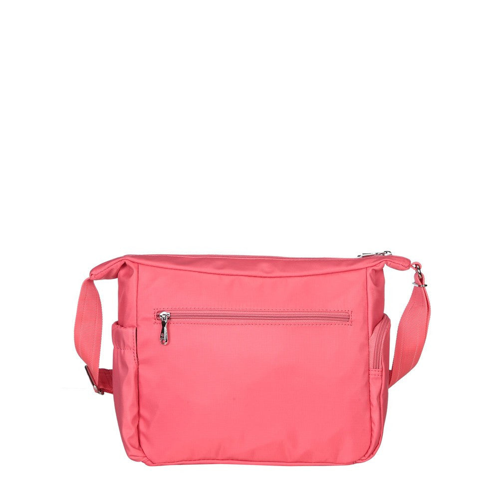 Crossbody Bag - Grenada Leather Trimmed Multi-Pocket Crossbody Bag With Whistle Dangle Back [Coral Pink]