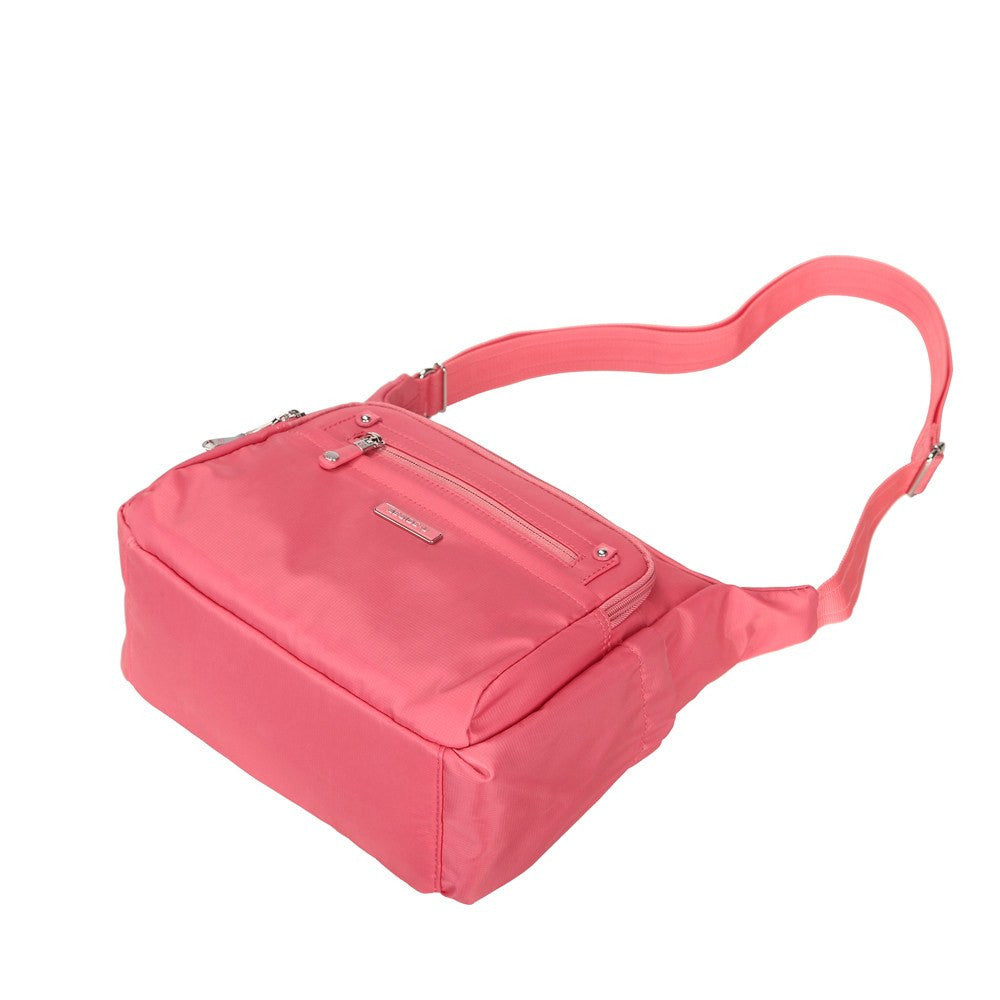 Crossbody Bag - Grenada Leather Trimmed Multi-Pocket Crossbody Bag With Whistle Dangle Lying Down [Coral Pink]