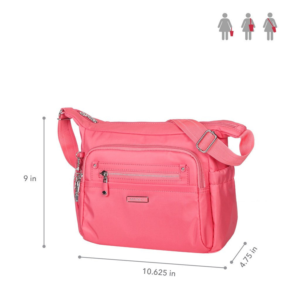 Crossbody Bag - Grenada Leather Trimmed Multi-Pocket Crossbody Bag With Whistle Dangle Size [Coral Pink]