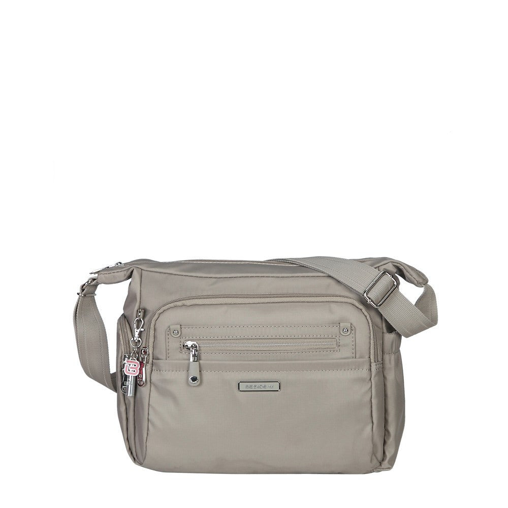 Crossbody Bag - Grenada Leather Trimmed Multi-Pocket Crossbody Bag With Whistle Dangle Front [Moon Grey]