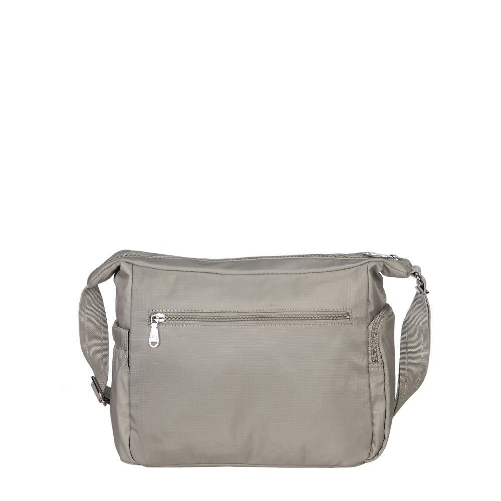 Crossbody Bag - Grenada Leather Trimmed Multi-Pocket Crossbody Bag With Whistle Dangle Back [Moon Grey]