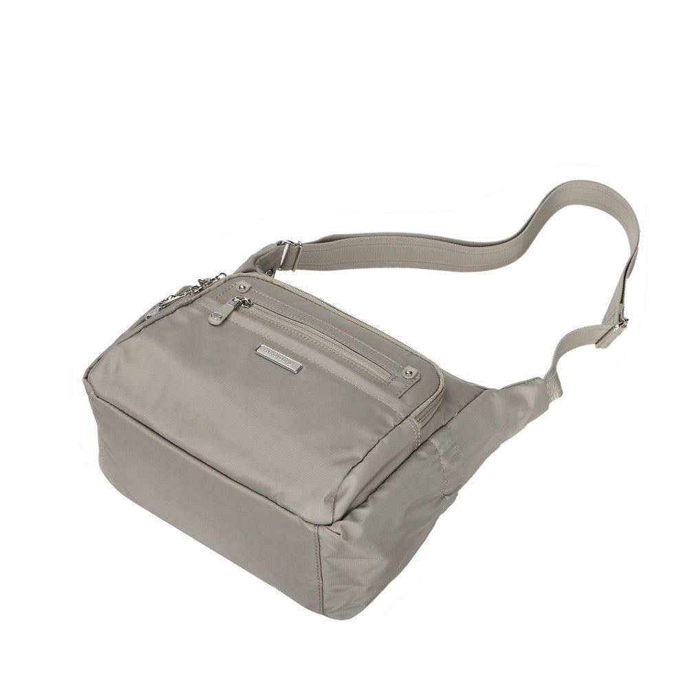 Crossbody Bag - Grenada Leather Trimmed Multi-Pocket Crossbody Bag With Whistle Dangle Lying Down [Moon Grey]