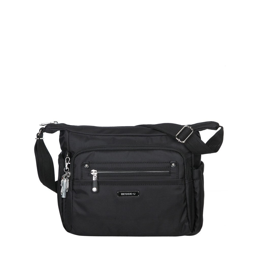 Crossbody Bag - Grenada Leather Trimmed Multi-Pocket Crossbody Bag With Whistle Dangle Front [Black]