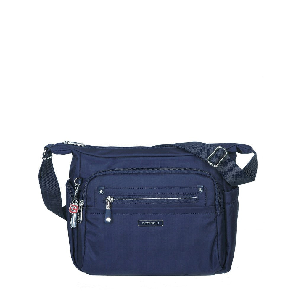 Crossbody Bag - Grenada Leather Trimmed Multi-Pocket Crossbody Bag With Whistle Dangle Front [Evening Blue]