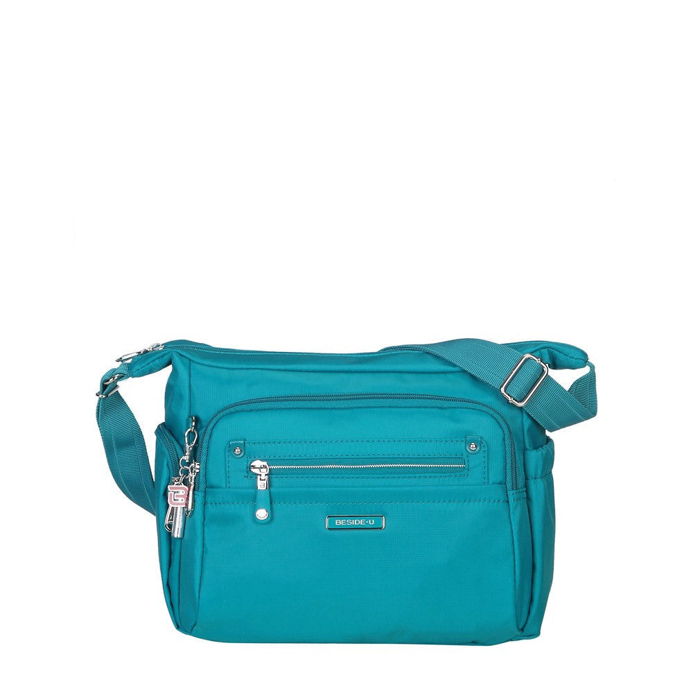 Crossbody Bag - Grenada Leather Trimmed Multi-Pocket Crossbody Bag With Whistle Dangle Front [Ocean Blue]