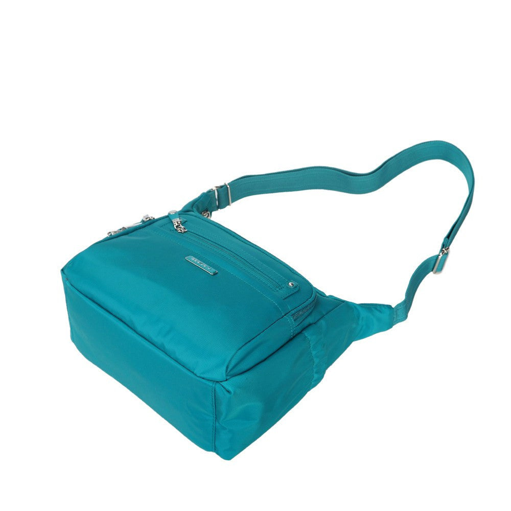 Crossbody Bag - Grenada Leather Trimmed Multi-Pocket Crossbody Bag With Whistle Dangle Lying Down [Ocean Blue]