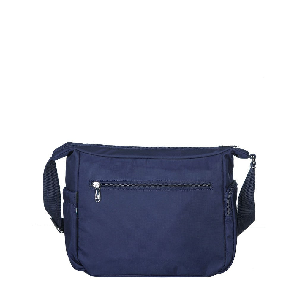 Crossbody Bag - Grenada Leather Trimmed Multi-Pocket Crossbody Bag With Whistle Dangle Back [Evening Blue]