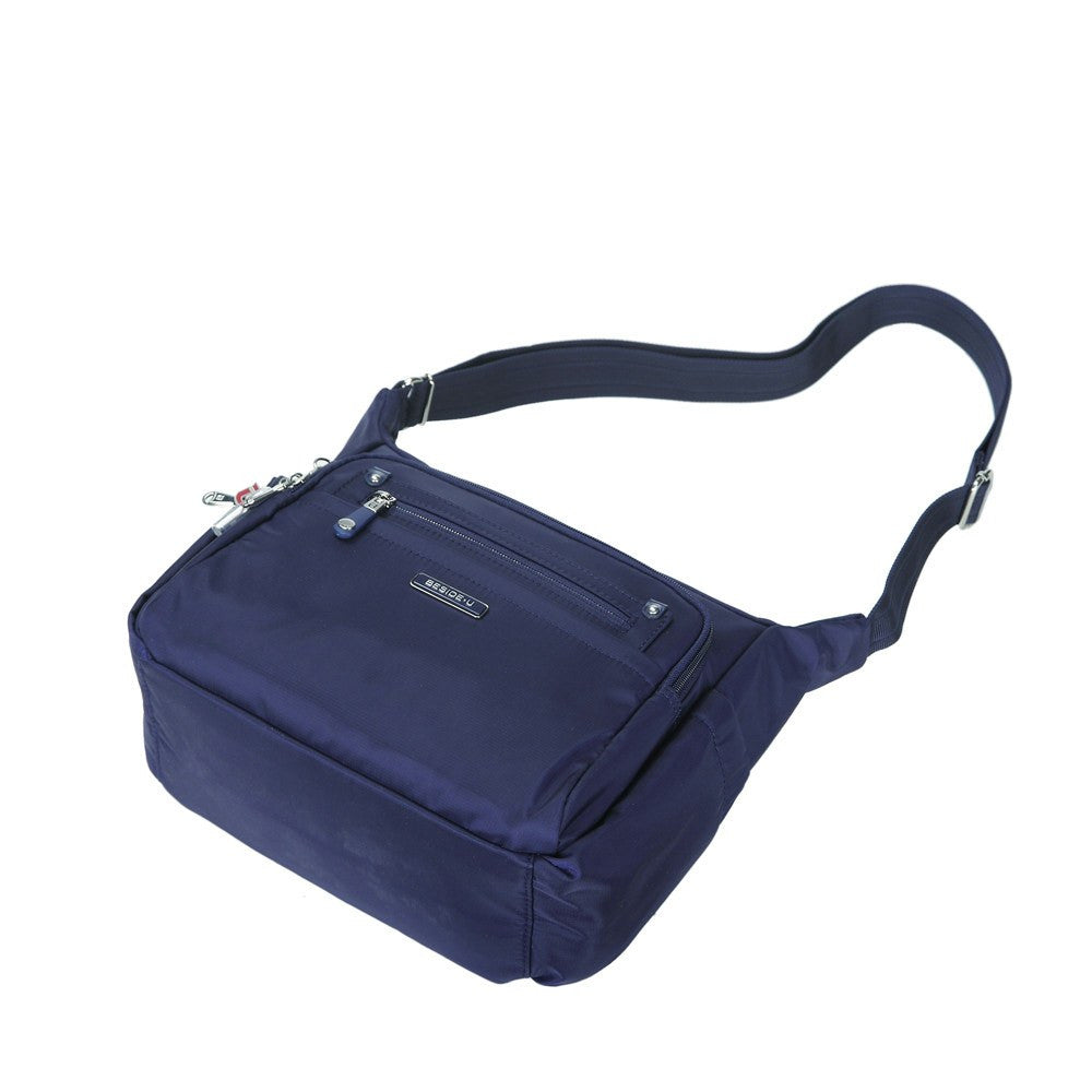 Crossbody Bag - Grenada Leather Trimmed Multi-Pocket Crossbody Bag With Whistle Dangle Lying Down [Evening Blue]