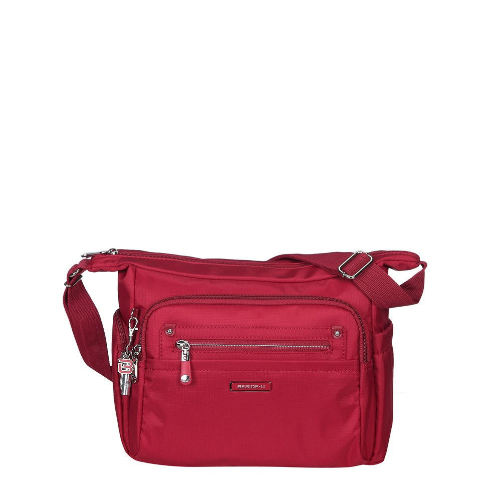 Crossbody Bag - Grenada Leather Trimmed Multi-Pocket Crossbody Bag With Whistle Dangle Front [Jester Red]