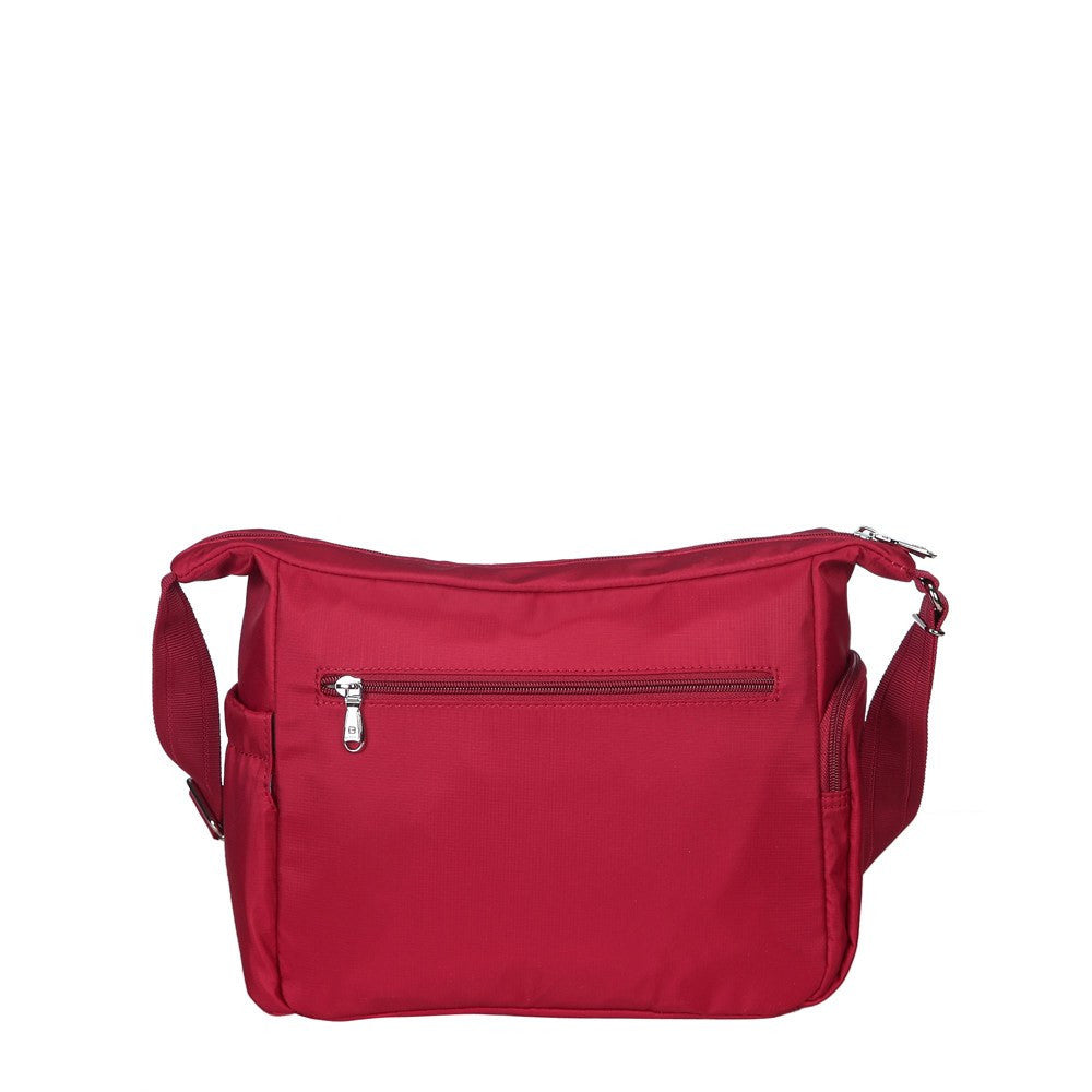 Crossbody Bag - Grenada Leather Trimmed Multi-Pocket Crossbody Bag With Whistle Dangle Back [Jester Red]