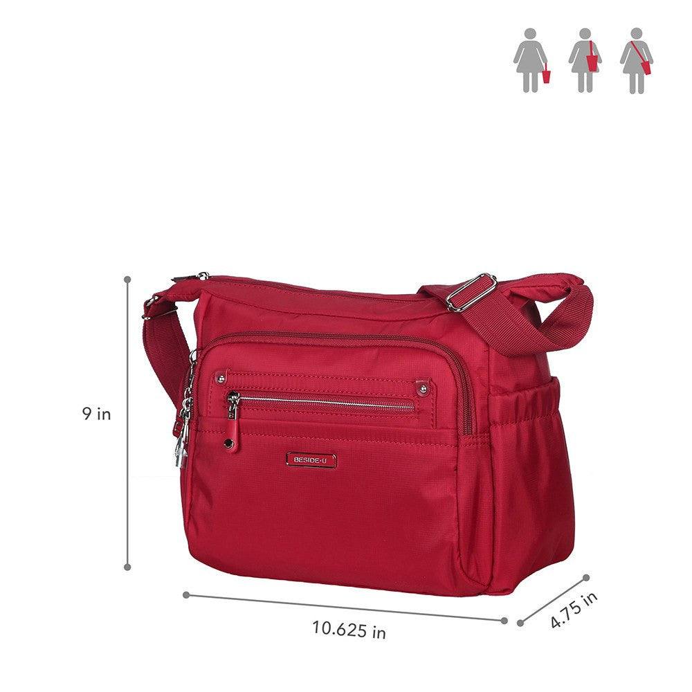 Crossbody Bag - Grenada Leather Trimmed Multi-Pocket Crossbody Bag With Whistle Dangle Size [Jester Red]