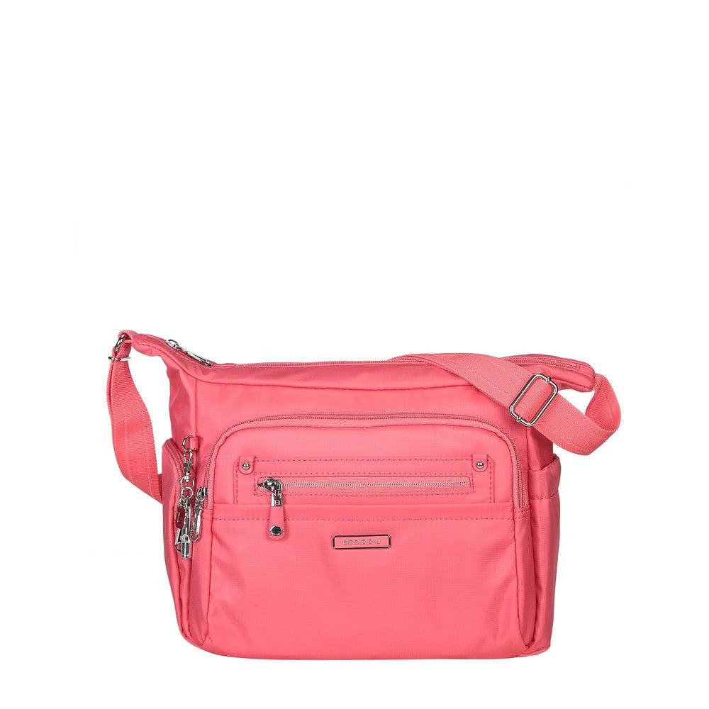 Crossbody Bag - Grenada Leather Trimmed Multi-Pocket Crossbody Bag With Whistle Dangle Front [Coral Pink]