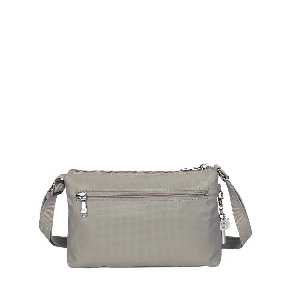 Crossbody Bag - Hemet Leather Trimmed Small Travel Crossbody Bag Back [Moon Grey]