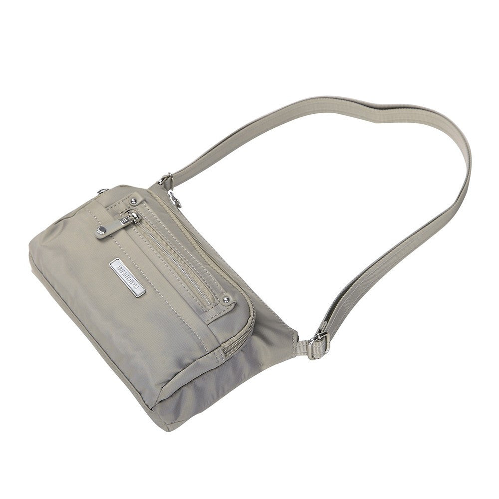 Crossbody Bag - Hemet Leather Trimmed Small Travel Crossbody Bag Lying Down [Moon Grey]