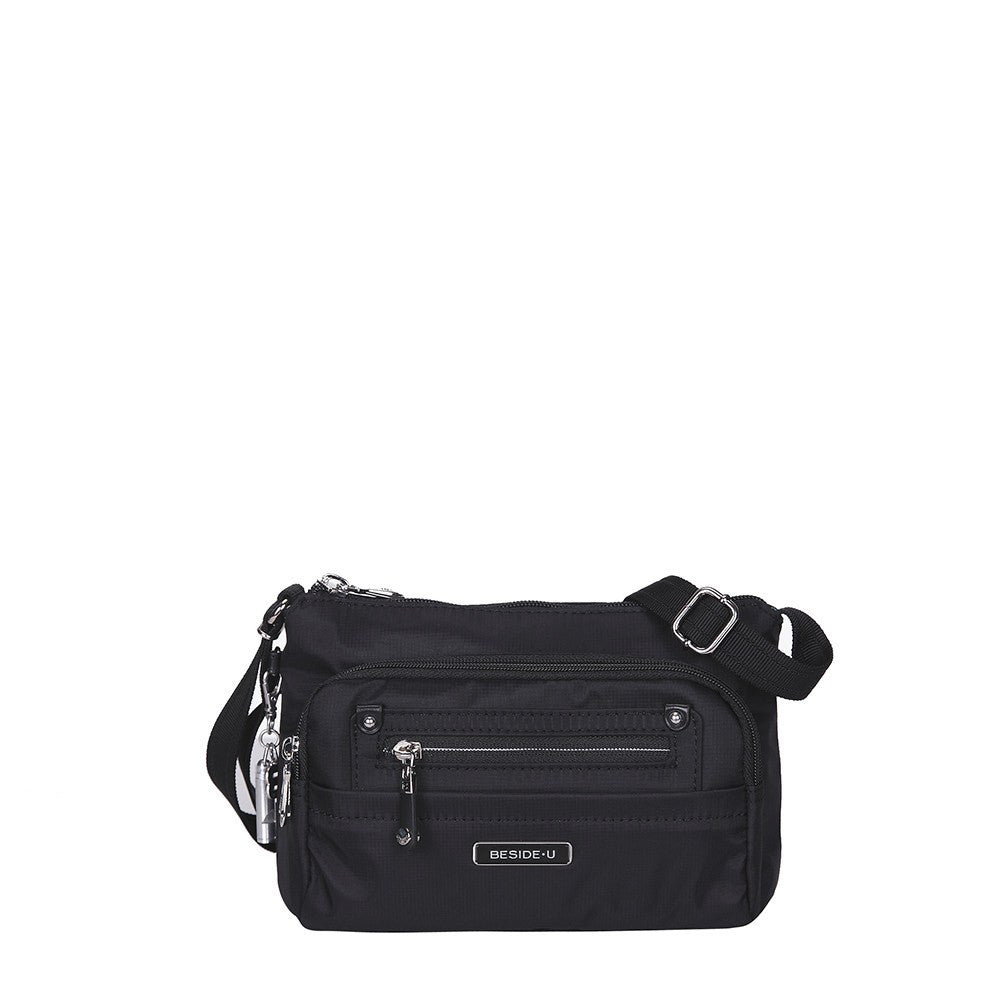 Crossbody Bag - Hemet Leather Trimmed Small Travel Crossbody Bag Front [Black]