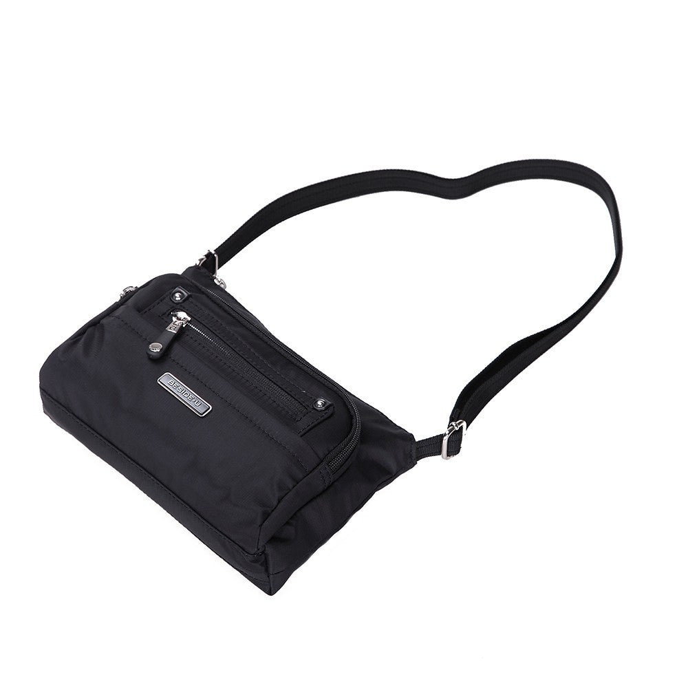 Crossbody Bag - Hemet Leather Trimmed Small Travel Crossbody Bag Lying Down [Black]