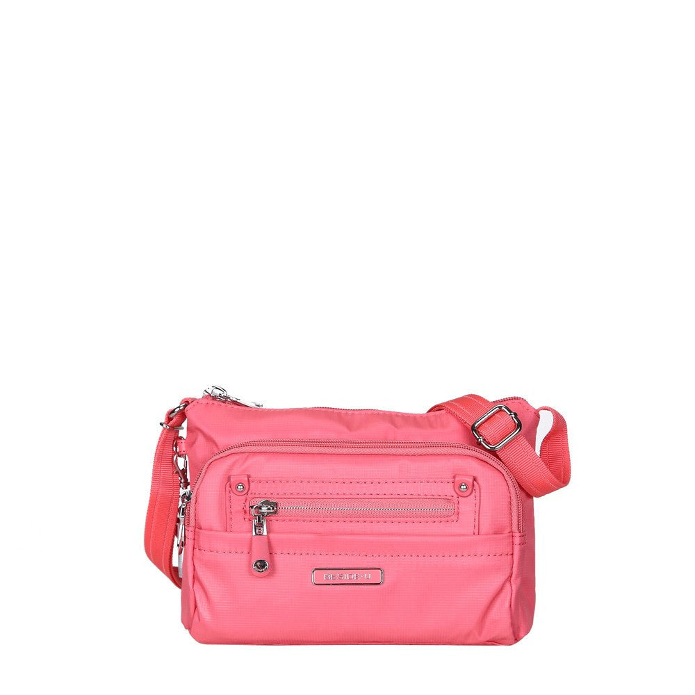 Crossbody Bag - Hemet Leather Trimmed Small Travel Crossbody Bag Front [Coral Pink]