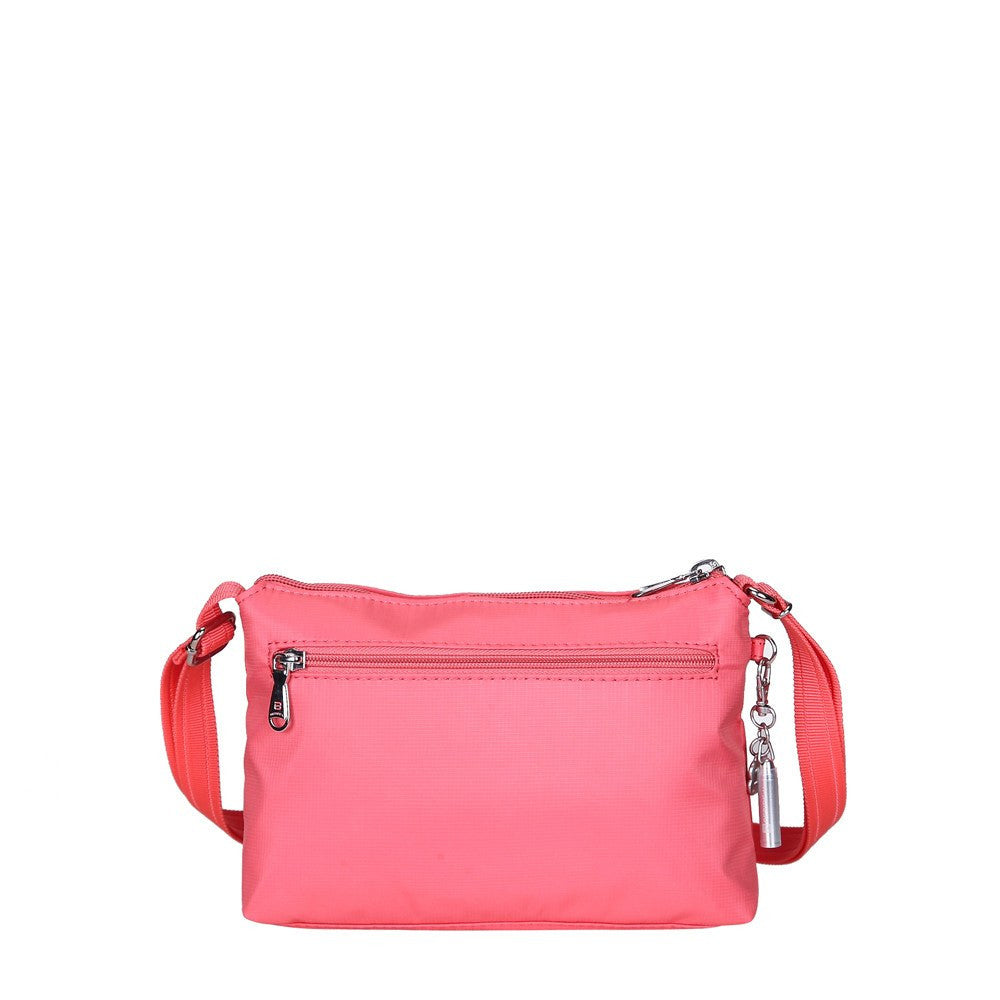 Crossbody Bag - Hemet Leather Trimmed Small Travel Crossbody Bag Back [Coral Pink]