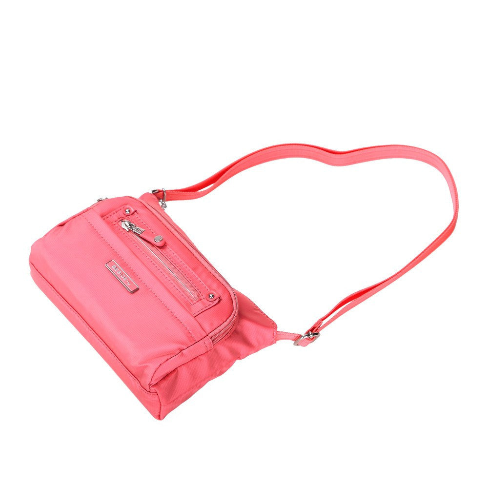 Crossbody Bag - Hemet Leather Trimmed Small Travel Crossbody Bag Lying Down [Coral Pink]