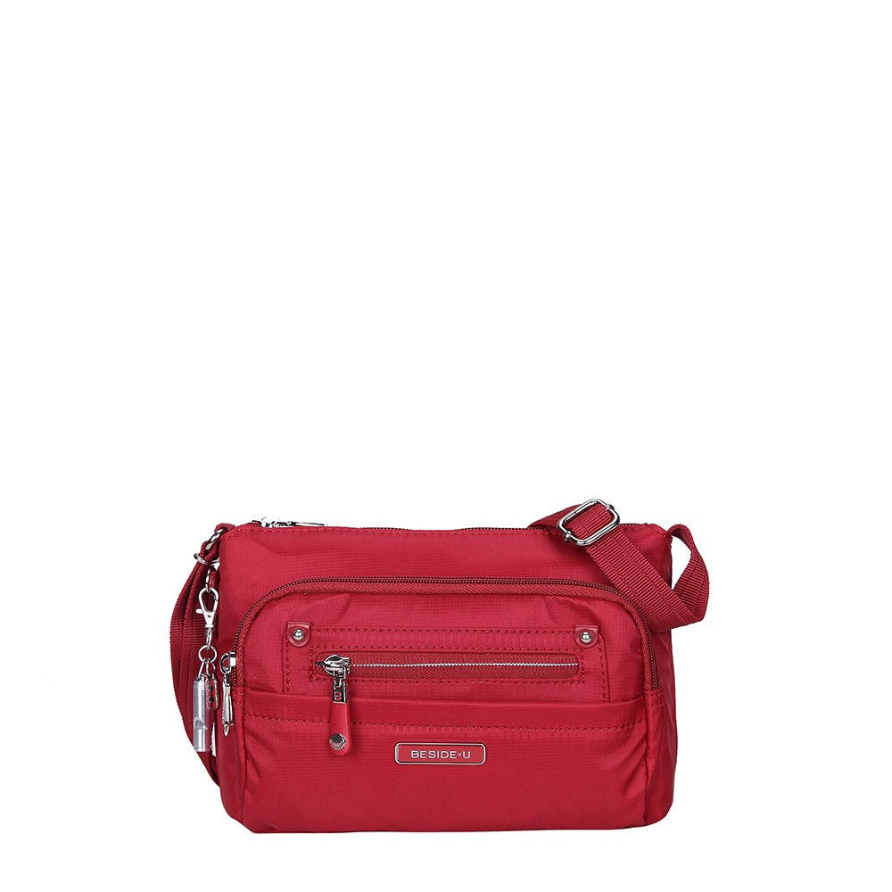 Crossbody Bag - Hemet Leather Trimmed Small Travel Crossbody Bag Front [Jester Red]