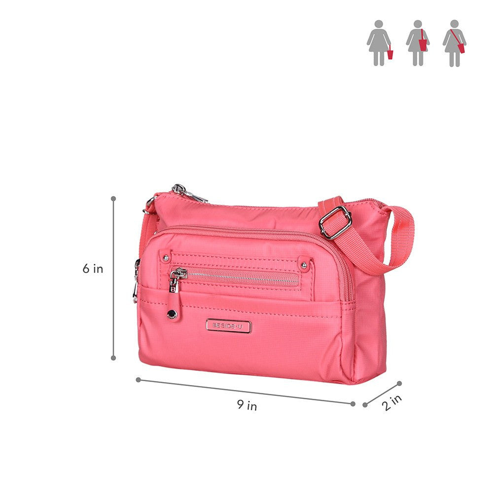 Crossbody Bag - Hemet Leather Trimmed Small Travel Crossbody Bag Size [Coral Pink]
