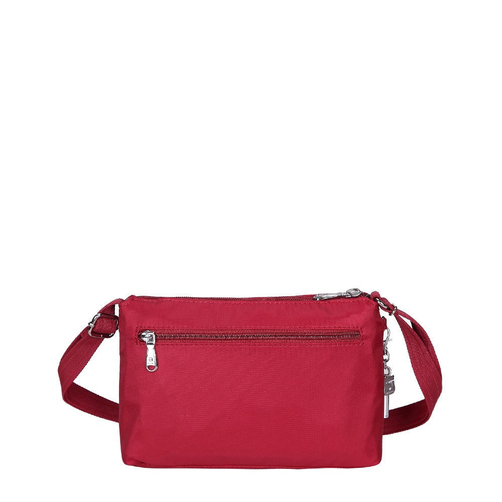 Crossbody Bag - Hemet Leather Trimmed Small Travel Crossbody Bag Back [Jester Red]
